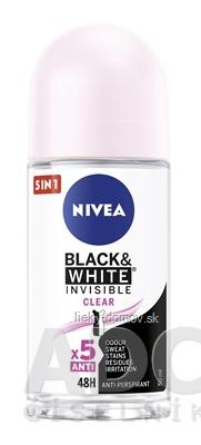 NIVEA Anti-perspirant BLACK & WHITE Clear guľôčkový, 48H, 5xAnti 1x50 ml