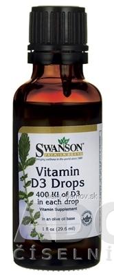 SWANSON Vitamín D3 400 IU kvapky na báze olivového oleja 1x29,6 ml