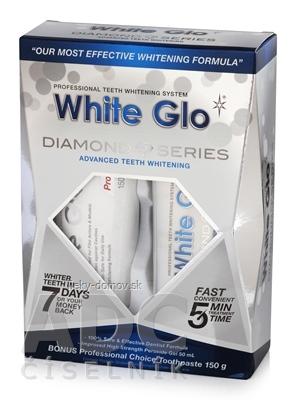 WHITE GLO DIAMONDS Bieliaci set bieliaci zubný gel 50 ml s aplikátorom + Bonus bieliaca zubná pasta 150 g, 1x1 set