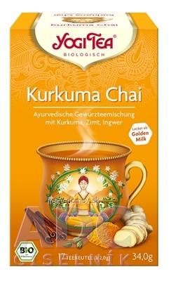 YOGI TEA Kurkuma Chai BIO ajurvédska čajová zmes, nálevové vrecúška 17x2 g (34 g)