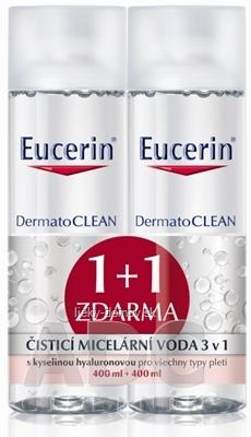 Eucerin DermatoCLEAN čistiaca micelárna voda 3v1 (inov.2019) 2x400 ml (1+1 zadarmo), 1x1 set