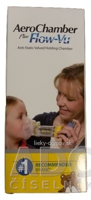 AeroChamber Plus nástavec inhalačný žltý, s maskou pre deti od 6 mesiacov-5 rokov, 1x1 ks
