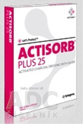ACTISORB PLUS 25 obväz s aktívnym uhlím a striebrom (10,5x10,5 cm) 1x10 ks