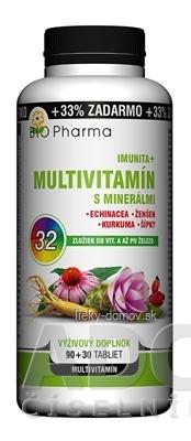 BIO Pharma Multivitamín s minerálmi IMUNITA+ tbl 90+30 (33% ZADARMO) 32 zložiek (120 ks)