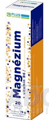 PLUS LEKÁREŇ Magnézium + vitamín B6 tbl eff s príchuťou pomaranča 1x20 ks