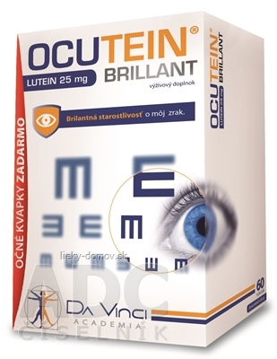OCUTEIN BRILLANT Luteín 25 mg - DA VINCI cps 60 ks + očné kvapky OCUTEIN Sensitive 15 ml zadarmo, 1x1set