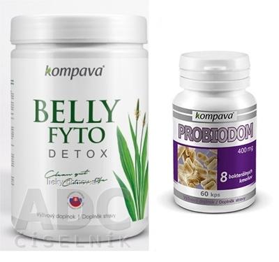 kompava BELLY FYTO DETOX prášok 400 g + Probiodom cps 60, 1x1 set