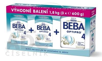 BEBA OPTIPRO 4 - Trojbalenie (modrá, inov. 2019) mliečna výživa (od ukonč. 18.mesiaca) 3x600 g (1,8 kg), 1x1 set